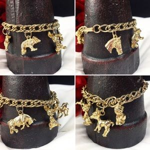 Vintage Jewelry - Vintage Gold Tone Animal Charm Bracelet